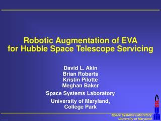 Robotic Augmentation of EVA for Hubble Space Telescope Servicing