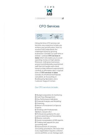 CFO Services in Dubai