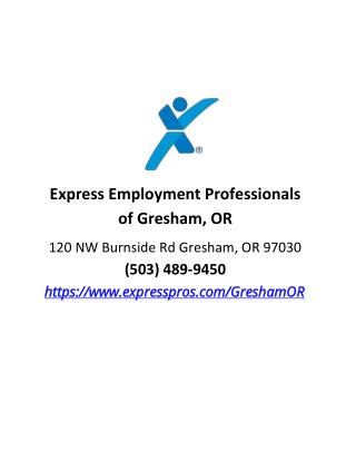 Express Employment Professionals of Gresham, OR