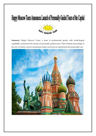Happy Moscow Tours Announces Launch of Personally Guided Tours of the Capital