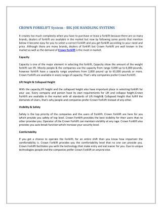 CROWN FORKLIFT System - BIG JOE HANDLING SYSTEMS