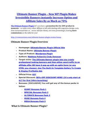 Ultimate Banner Plugin review and (COOL) $32400 bonuses