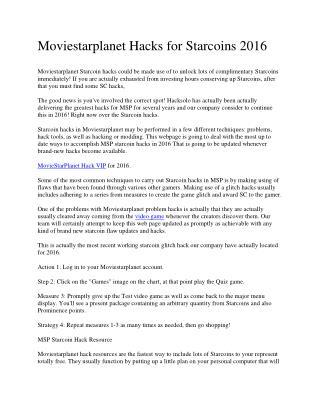 Moviestarplanet Hacks for Starcoins 2016