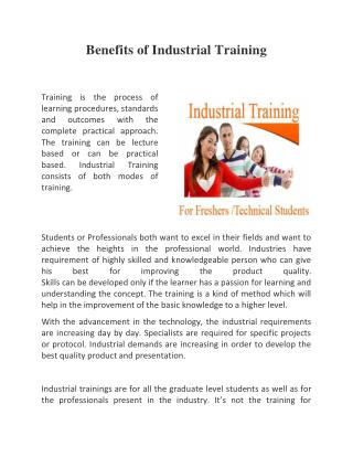 Benefits of Industrial Training