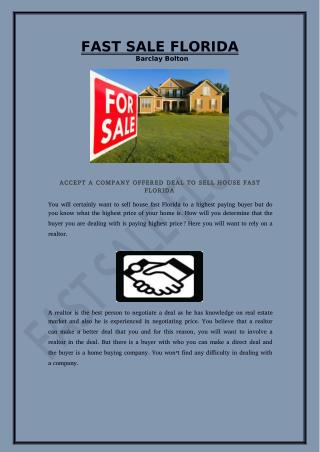 Accept A Company Offered Deal To Sell House Fast Florida