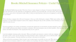 Brooks Mitchell Insurance Policies - Useful Tips to Consider