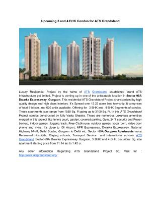 Upcoming 3 and 4 BHK Condos for ATS Grandstand