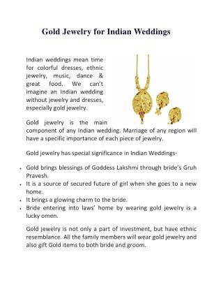 Gold Jewelry for Indian Weddings