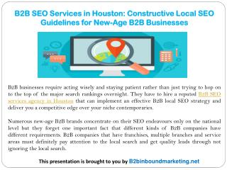 B2B SEO Services in Houston: Constructive Local SEO Guidelines for New-Age B2B Businesses