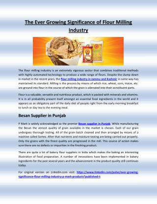 The Ever Growing Significance of Flour Milling Industry