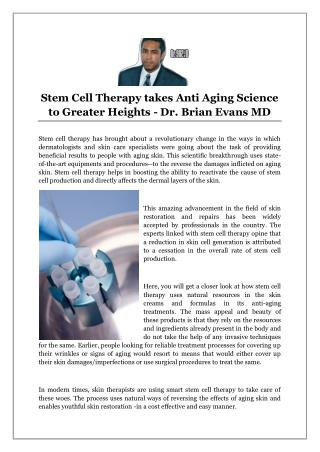 Stem Cell Therapy takes Anti Aging Science to Greater Heights - Dr. Brian Evans MD