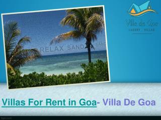 Villas for Rent in Goa - Villa De Goa