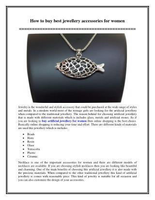 How to buy best jewellery accessories for women