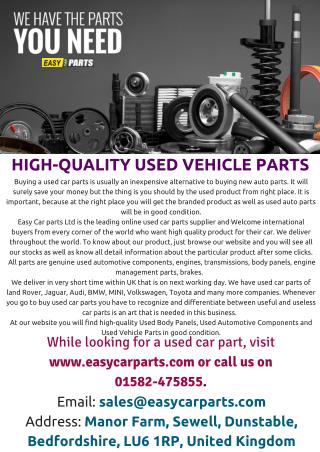 HIGH QUALITY USED VEICHLE PRODUCTS - www.easycarparts.com