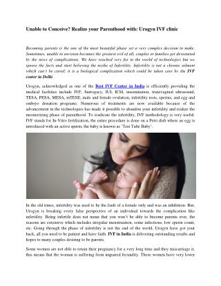 Unable to Conceive? Realize your Parenthood with: Urogyn IVF clinic
