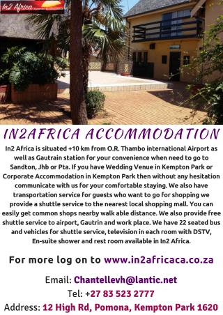 HOME AWAY FROM HOME - IN2 AFRICA CORPORATE ACCOMODATION