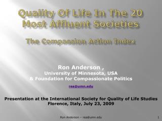 Quality Of Life In The 20 Most Affluent Societies  The Compassion Action Index