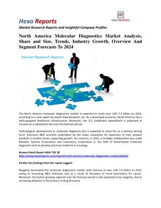 North America Molecular Diagnostics Market Share, Industry Growth And Overview To 2024: Hexa Reports