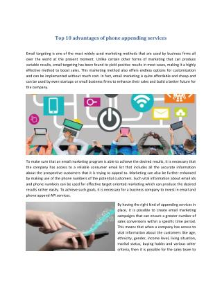 Top 10 advantages of phone appending services