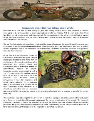 Insurance to ensure that your antique bike is alright