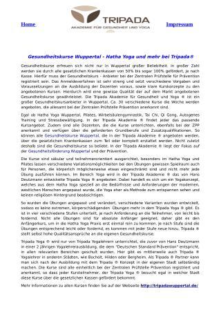 Gesundheitskurse Wuppertal - Hatha Yoga und mehr bei Tripada®
