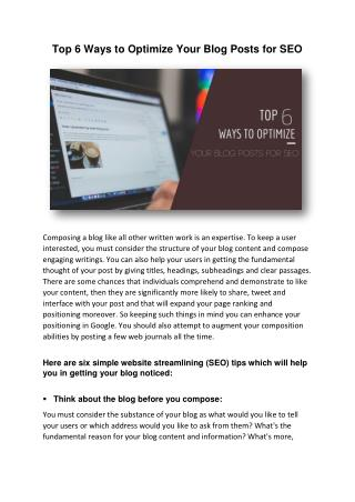 Top 6 Ways to Optimize Your Blog Posts for SEO