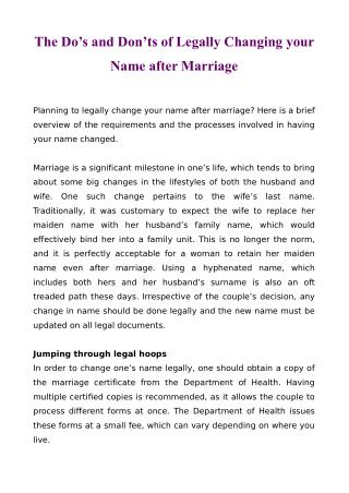 The Do's and Don'ts of Legally Changing your Name after Marriage