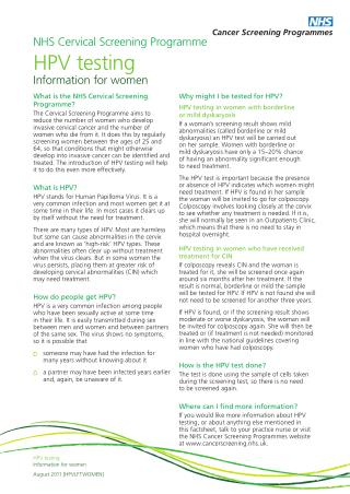 NHS Cervical Screening Programme HPV testing Information for women
