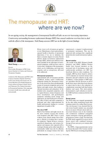 The menopause and HRT:  where are we now?