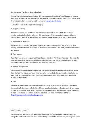 Key features of WordPress designed websites