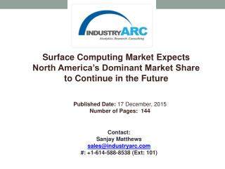Surface Computing Market Buoyed by Recent Advances in Multi Touch Display Technology