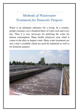 Methods of Wastewater Treatment for Domestic Purpose