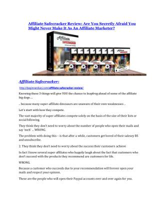Affiliate Safecracker Review - (FREE) Bonus of Affiliate Safecracker