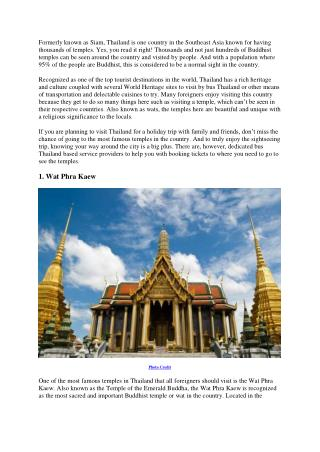 Three Famous Temples In Thailand You Shouldn't Miss To Visit