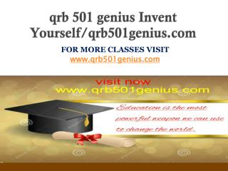qrb 501 genius Invent Yourself/qrb501genius.com