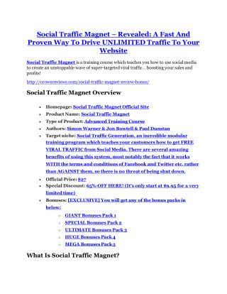Social Traffic Magnet Review & (BIGGEST) jaw-drop bonuses