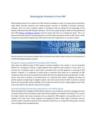 Realizing the Potential of Your ERP