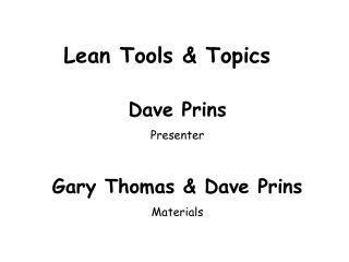 Lean Tools  Topics