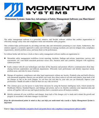 Momentum Systems: Some Key Advantages of Safety Management Software you Must Know!