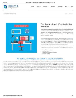 Web Designing Services|Best Website Design Company | SEOCZAR