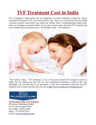 IVF Treatment Cost in India