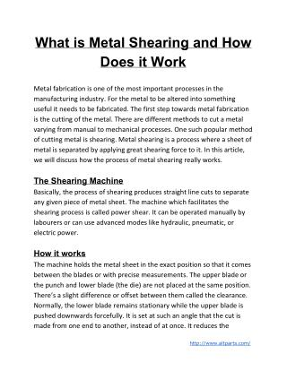 What is Metal Shearing and How Does it Work