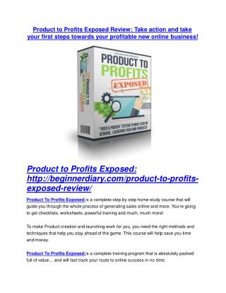 Product to Profits Exposed REVIEW & Product to Profits Exposed (SECRET) Bonuses