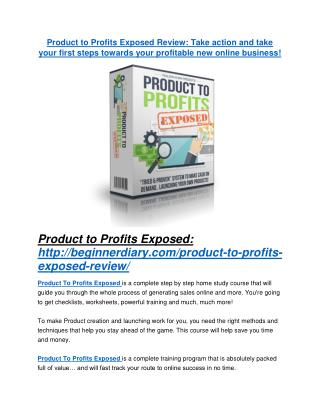 Product to Profits Exposed review and MEGA $38,000 Bonus - 80% Discount
