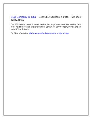 SEO Company in India – Best SEO Services in 2016 – Min 25% Traffic Boost