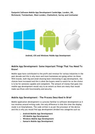 Eastpoint Software Mobile App Development Cambridge, London, UK, Richmond, Twickenham, West London, Chelmsford, Surrey a