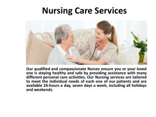 Nursing Care | Nursing Care Service | Nursing Care Services