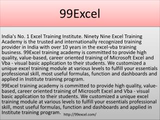 Advanced Excel Classes in Noida | 99Excel