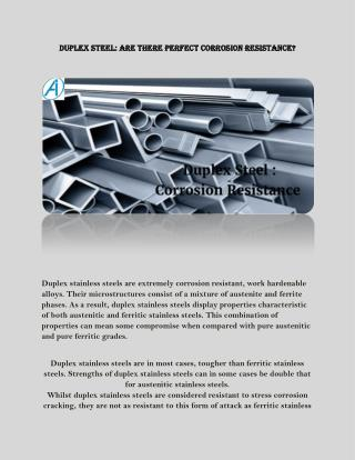 Duplex Steel: Are there Perfect Corrosion Resistance?