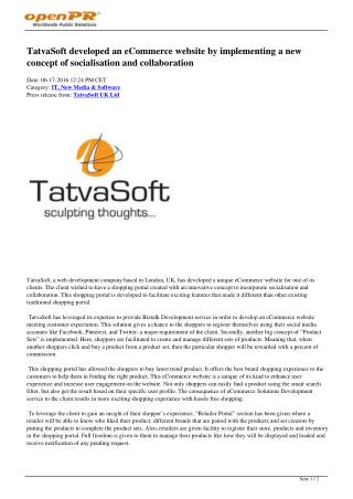 TatvaSoft developed an eCommerce website by implementing a new concept of socialisation and collaboration